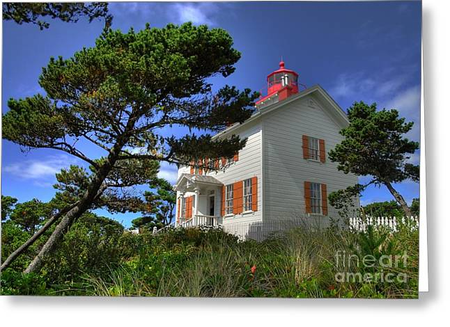 Yaquina Bay Light Greeting Card by Mel Steinhauer