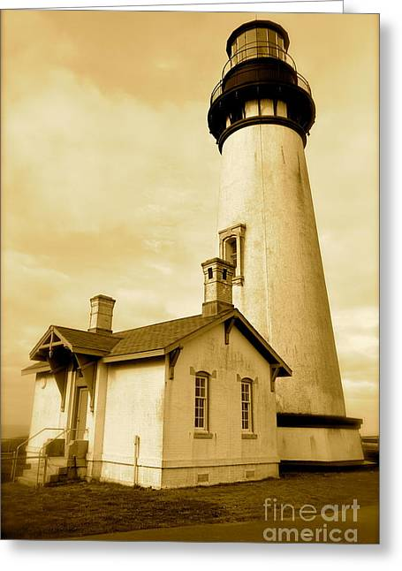 Yaquina Head Gone Sepia Greeting Card by Sheldon Blackwell