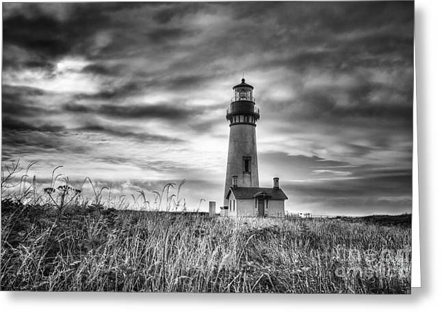 Yaquina Head Lighthouse Black And White Greeting Card