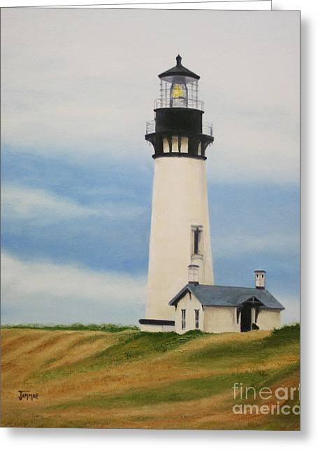 Greeting Card featuring the painting Yaquina Head Lighthouse by Jimmie Bartlett