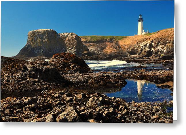 Yaquina Head Lighthouse Greeting Card by Ken Reece