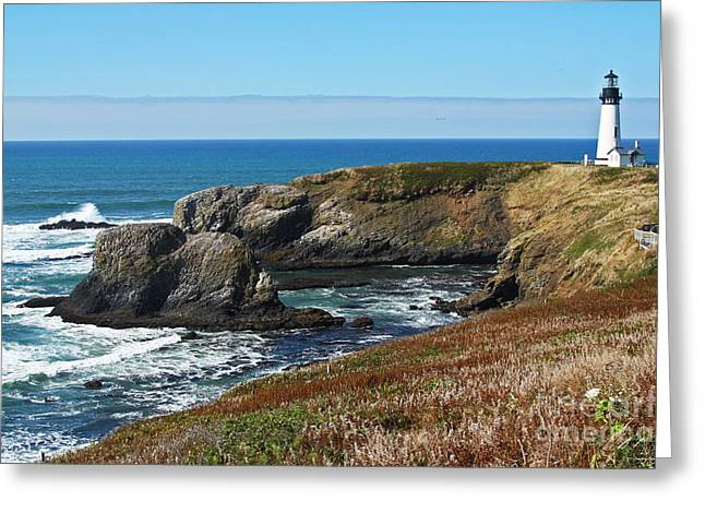 Yaquina Light And Headland Three Greeting Card