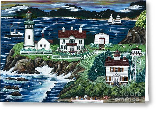 Yaquina Lighthouse Greeting Card by Jennifer Lake