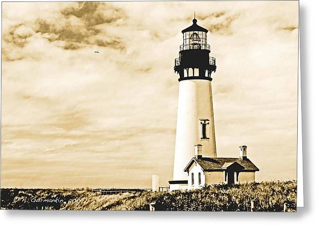 Greeting Card featuring the photograph Yaquina Lighthouse Oregon by A Gurmankin