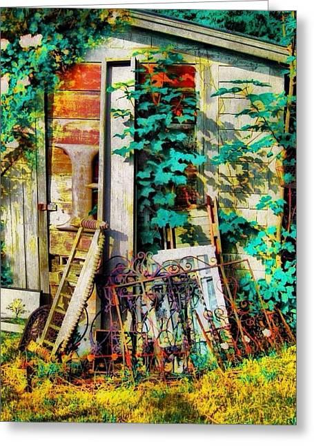 Yard Sale Antiques - Vertical Greeting Card