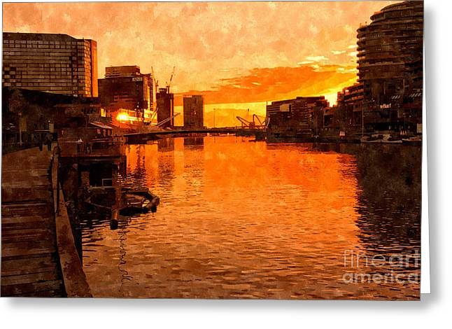 Yarra River Sunset As Seen From Promenade In Melbourne Greeting Card