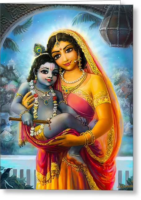 Yashoda And  Krishna Greeting Card by Lila Shravani