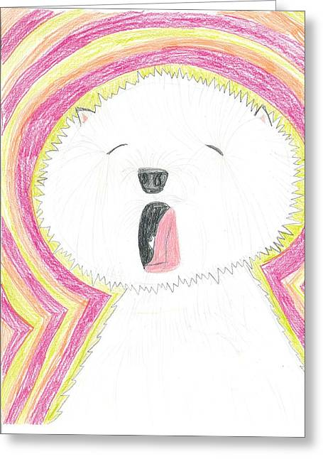 Greeting Card featuring the drawing Yawning Doggie by Fred Hanna