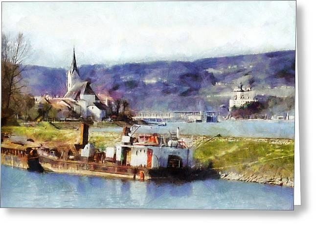 Ybbs An Der Donau Harbour Greeting Card
