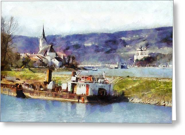 Ybbs An Der Donau Harbour Greeting Card