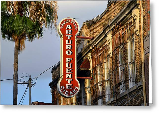 Ybor City Cigar Sign Color Work One Greeting Card by David Lee Thompson