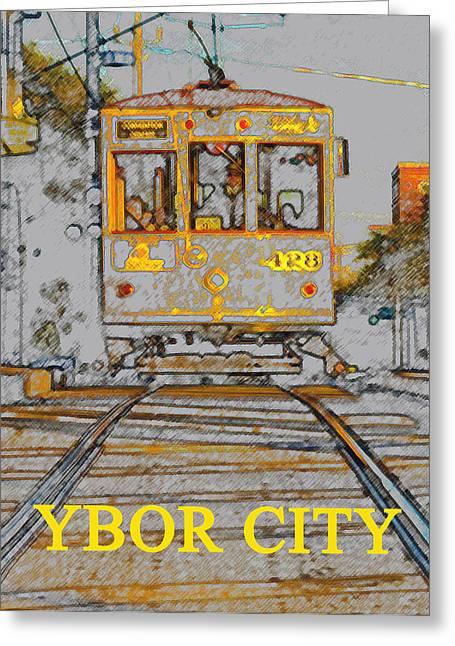 Ybor Trolley Greeting Card by David Lee Thompson