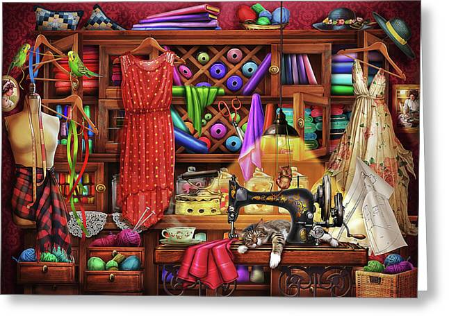 Greeting Card featuring the drawing Ye Olde Craft Room by Ciro Marchetti