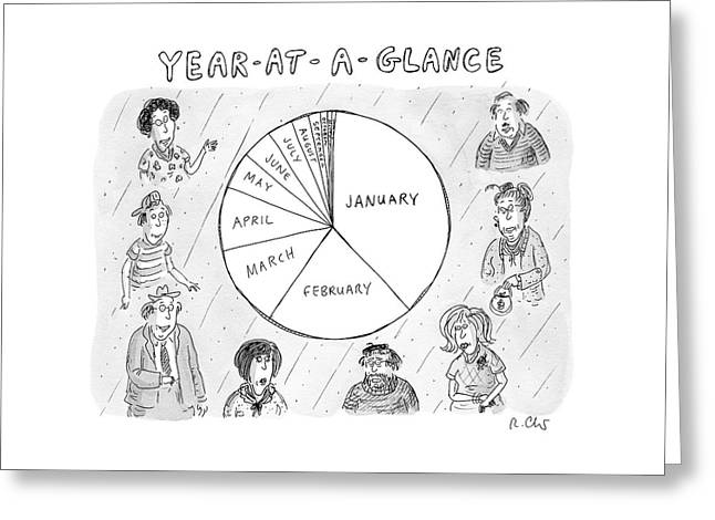 Year At A Glance--a Pie Chart Of The Months Greeting Card