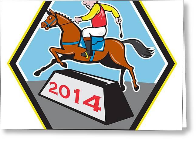 Year Of Horse 2014 Jockey Jumping Cartoon Greeting Card by Aloysius Patrimonio