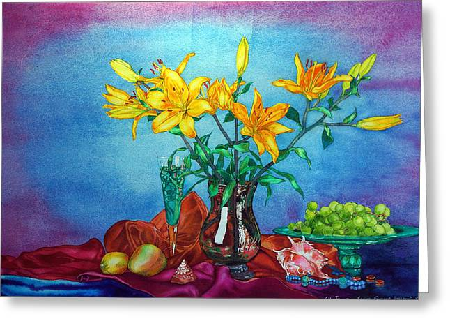 Yellow Lily In A Vase Greeting Card