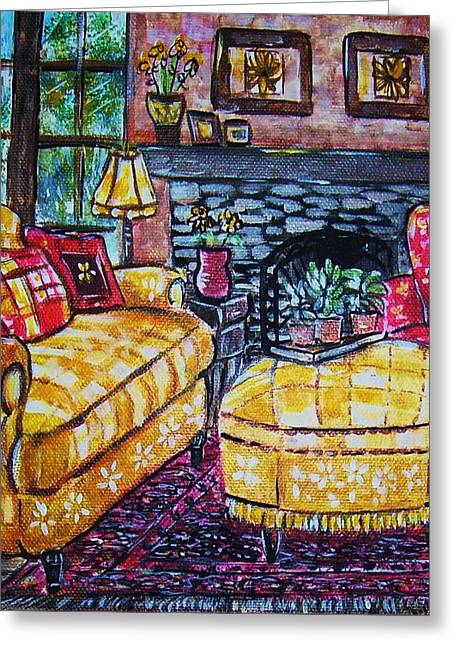 Yello Sofa Greeting Card by Linda Vaughon