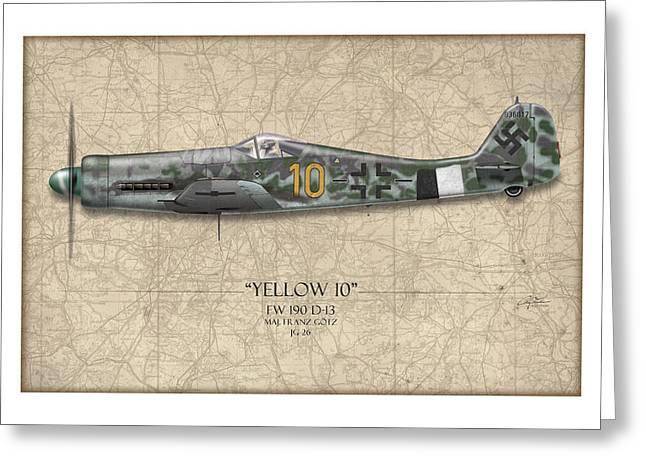 Yellow 10 Focke-wulf Fw190d - Map Background Greeting Card by Craig Tinder