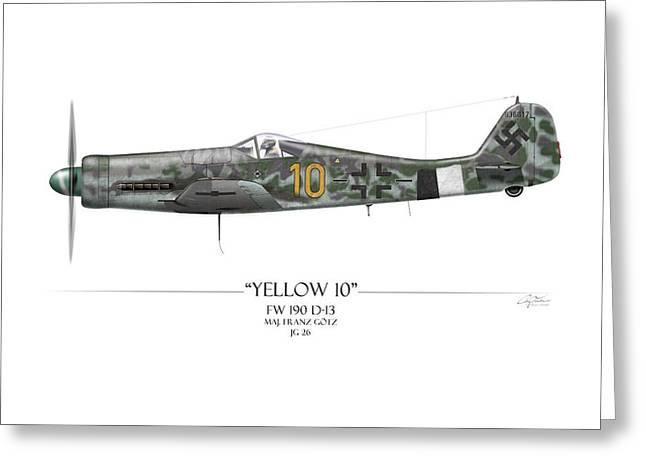 Yellow 10 Focke-wulf Fw190d - White Background Greeting Card by Craig Tinder