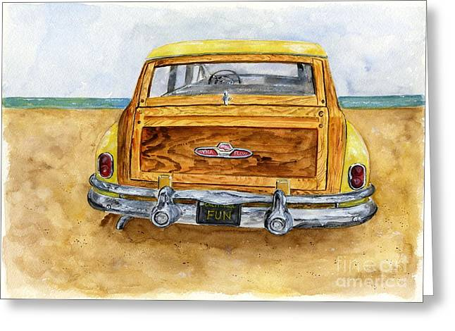 Yellow 1951 Surf Wagon Greeting Card by Sheryl Heatherly Hawkins