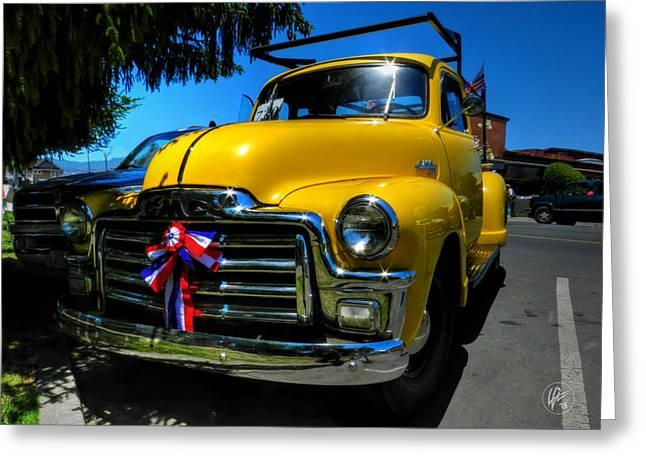 Yellow '54 Gmc Pickup Greeting Card by Lance Vaughn