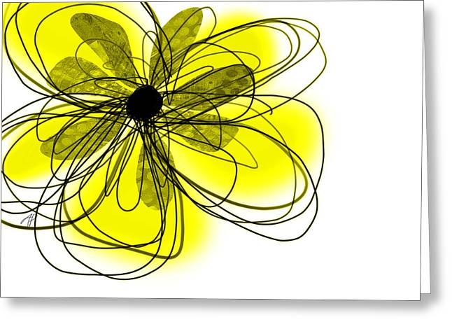 Yellow Abstract Flower Art  Greeting Card by Ann Powell