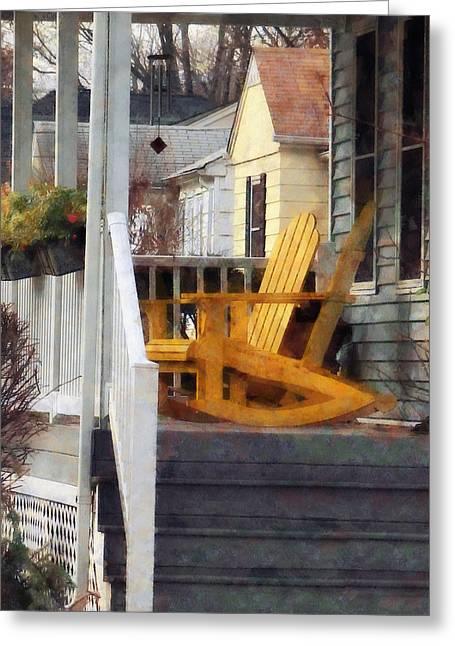 Yellow Adirondack Rocking Chairs Greeting Card by Susan Savad