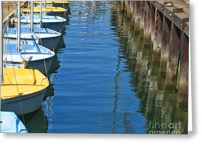 Yellow And Blue Sailboats From The Book My Ocean Greeting Card