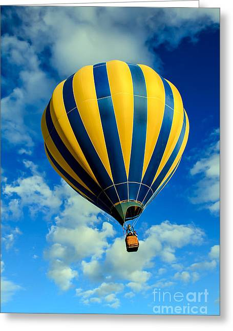 Yellow And Blue Striped Hot Air Balloon Greeting Card by Robert Bales