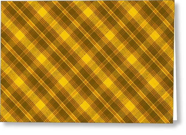 Yellow And Brown Diagonal Plaid Pattern Cloth Background Greeting Card by Keith Webber Jr