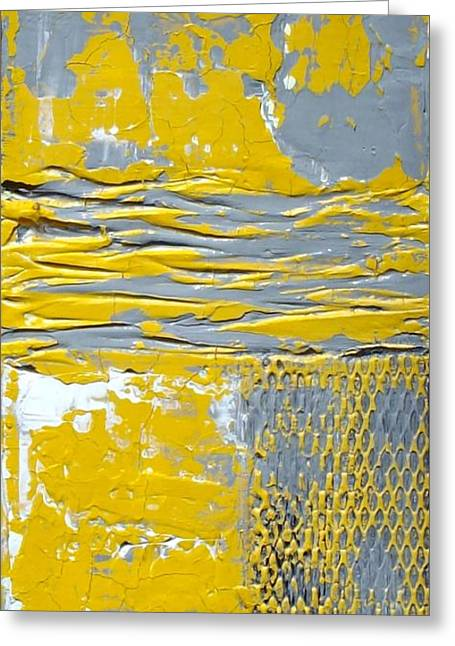 Yellow And Gray Abstract Painting Urban Chic Greeting Card