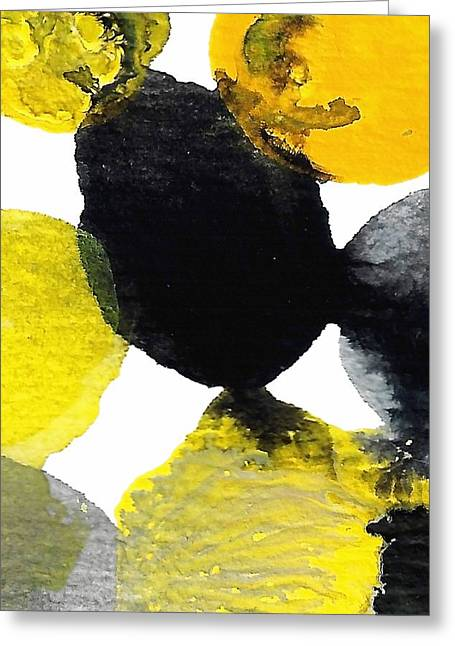 Yellow And Gray Interactions 9 Greeting Card by Amy Vangsgard