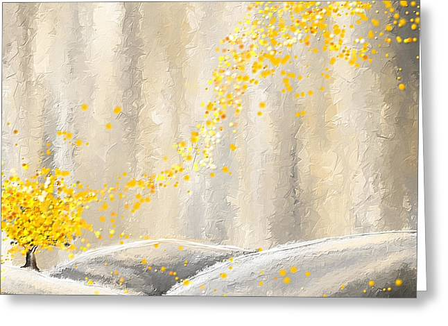 Yellow And Gray Landscape Greeting Card by Lourry Legarde
