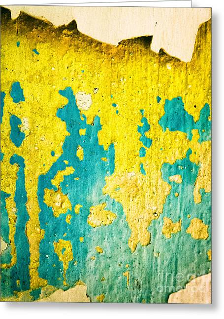 Greeting Card featuring the photograph Yellow And Green Abstract Wall by Silvia Ganora