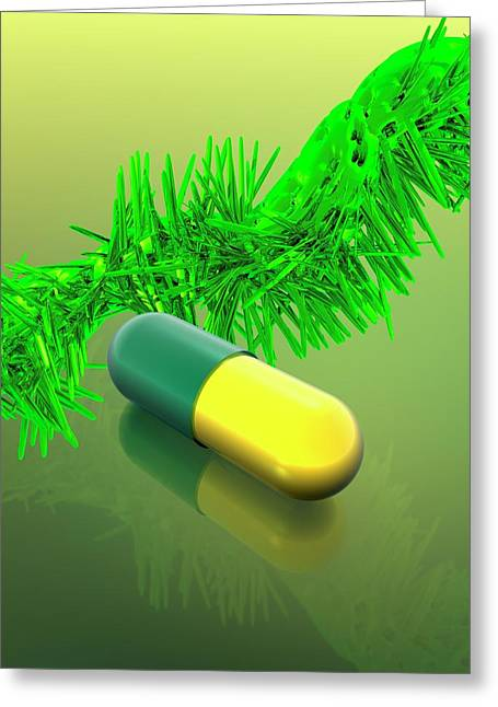 Yellow And Green Capsule Greeting Card by Victor Habbick Visions
