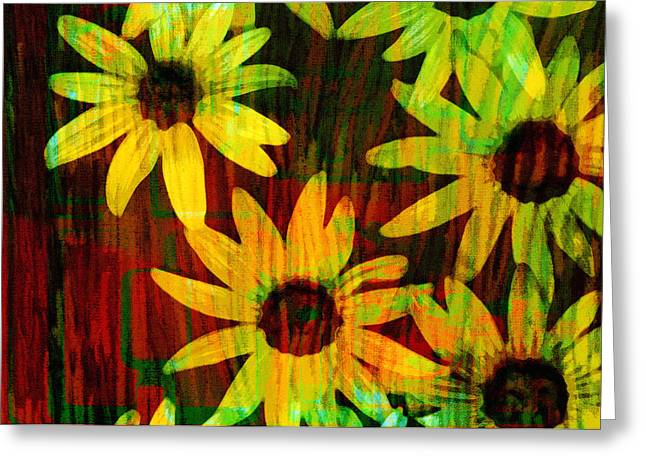 Yellow And Green Daisy Design Greeting Card by Ann Powell