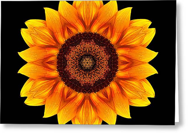 Yellow And Orange Sunflower Vi Flower Mandala Greeting Card
