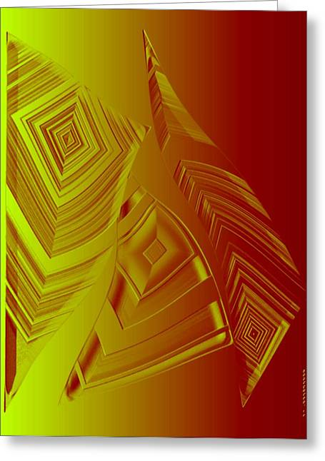 Yellow And Orange Triangles Greeting Card by Mario Perez