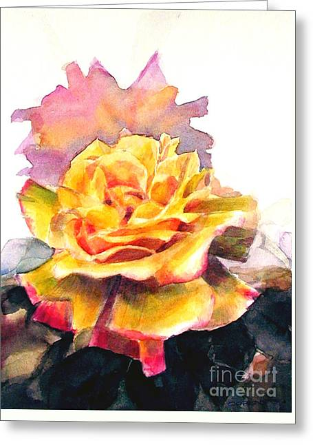 Greeting Card featuring the painting Yellow Rose Fringed In Red by Greta Corens