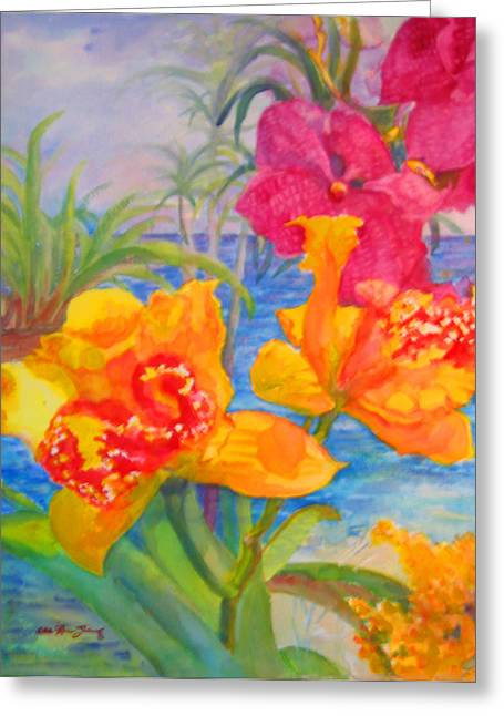 Yellow And Purple Orchids Greeting Card by Estela Robles