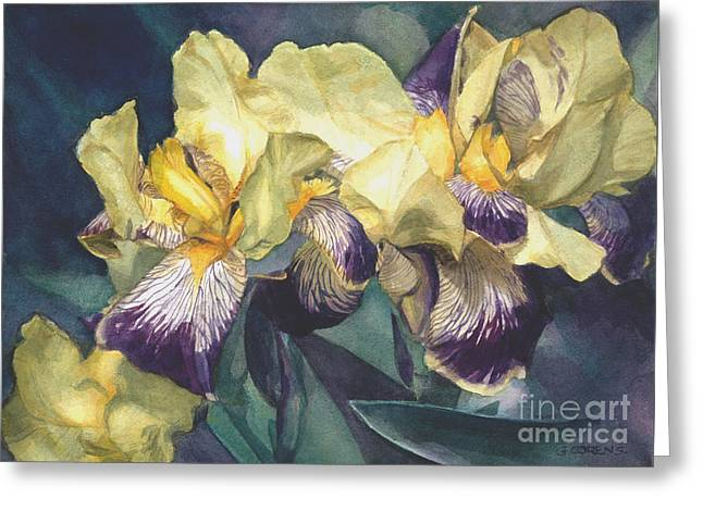 Watercolor Of A Tall Bearded Iris Painted In Yellow With Purple Veins Greeting Card