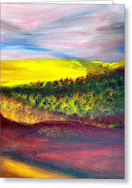 Yellow And Red Landscape Greeting Card by Michaela Kraemer