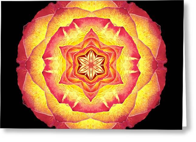 Yellow And Red Rose IIi Flower Mandala Greeting Card