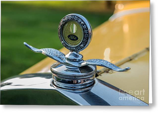 Yellow Antique Ford Hood Ornament With Wings Greeting Card