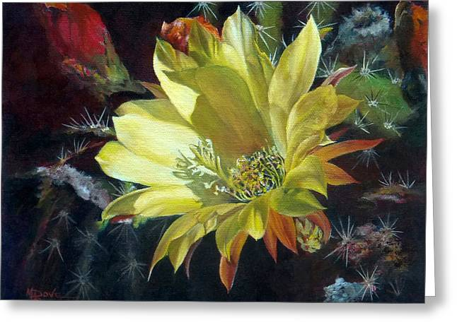 Yellow Argentine Giant Cactus Flower Greeting Card