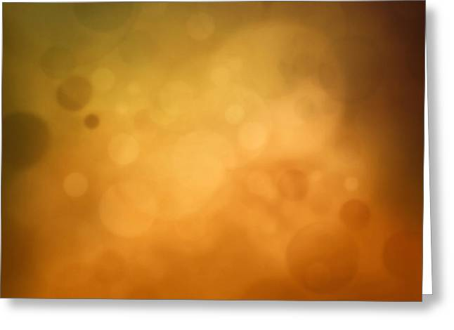 Yellow Autumn Bokeh Background Greeting Card by Mythja  Photography