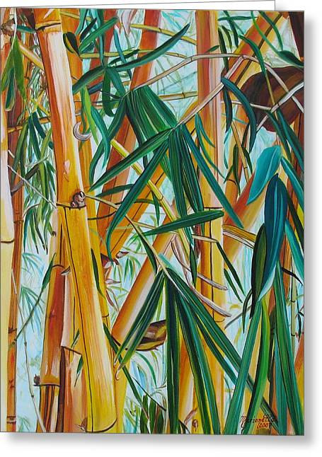 Yellow Bamboo Greeting Card by Marionette Taboniar