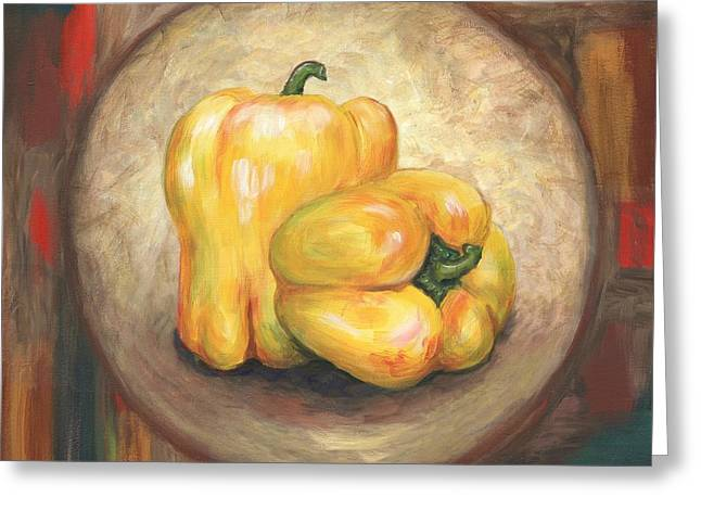 Yellow Bell Peppers Greeting Card by Linda Mears