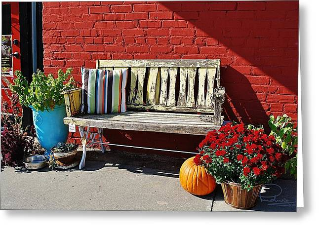 Greeting Card featuring the photograph Yellow Bench by Ludwig Keck
