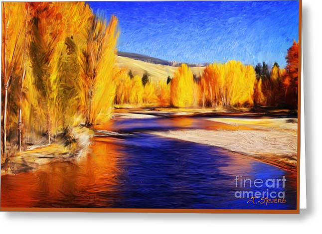 Yellow Bend In The River II Greeting Card by Joseph J Stevens